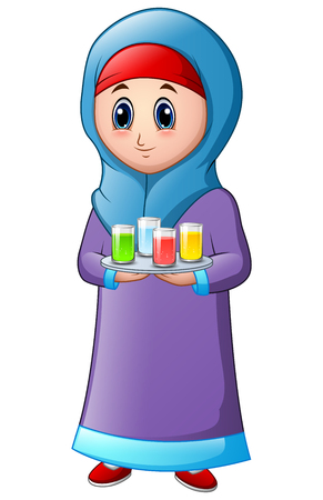 Muslim girl wearing blue veil with holding a platter with some drink on the top