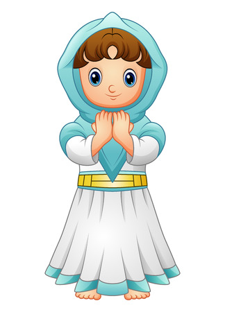 Muslim girl praying with wearing blue veil isolated on white background Illustration
