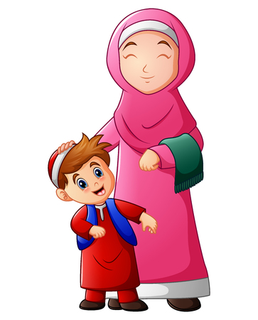 A Muslim women hold her son head and ready to go to mosque. Illustration