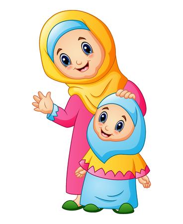 Een moslimvrouw houdt haar dochterhoofd en zwaaiende hand vast.