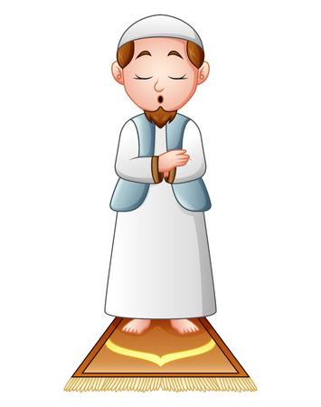Muslim man praying isolated on white background.