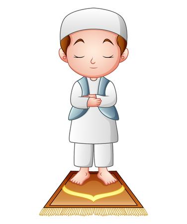 prayer rug: Muslim kid praying isolated on white background.