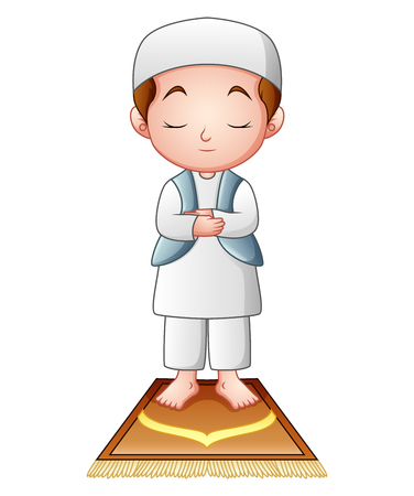 Muslim kid praying isolated on white background.