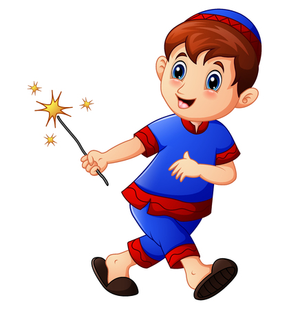 Vector illustration of Muslim kid running with holding firework on month of ramadan