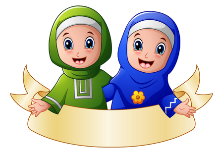 and two friends: Vector illustration of Muslim girl couple embrace for each other presenting with blank sign Illustration