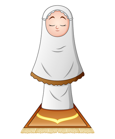 Muslim girl praying isolated on white background. Illustration