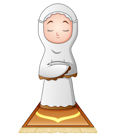 prayer rug: Muslim woman praying isolated on white background. Illustration