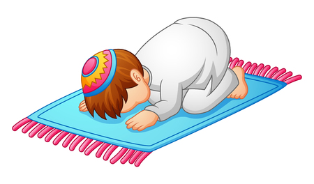 little kid prostration for praying of muslim Stock Photo