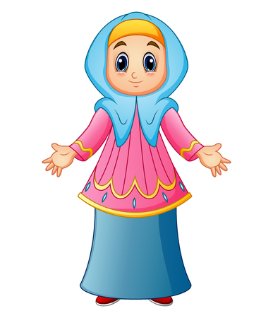 Muslim girl wearing blue veil and pink clothes presenting Illustration