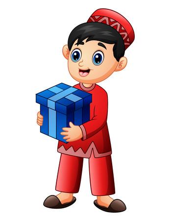 Muslim kid holding red gift box wearing red clothes Illustration
