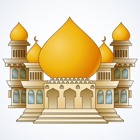 Islamic mosque building with yellow dome and four tower isolated on white background Stock Photo