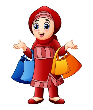 Muslim girl holding shopping bag wearing red clothes Stock Photo