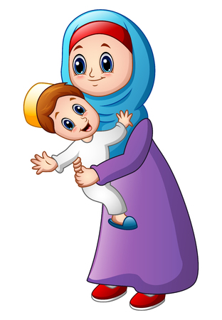 Vector illustration of Cartoon muslim mom carrying her son Illustration