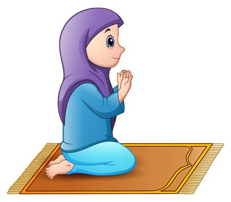 Vector illustration of Muslim girl sitting on the prayer rug while praying