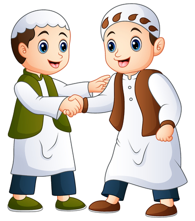 Muslim man shaking hands