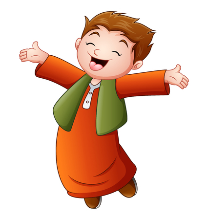 Happy muslim kid celebrate month of ramadan Illustration