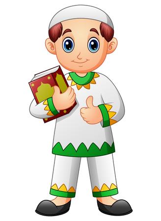 Muslim boy cartoon holding quran and giving thumb up Illustration