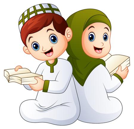 Happy muslim kid holding quran Illustration