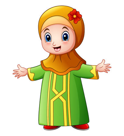 Happy muslim girl cartoon waving isolated on white background