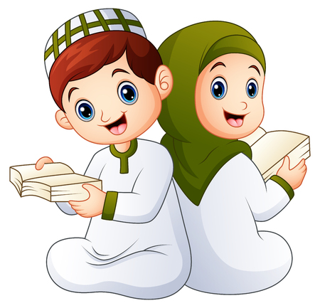 Happy muslim kid holding quran Stock Photo