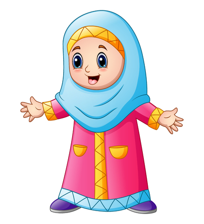 Happy muslim girl cartoon isolated on white background