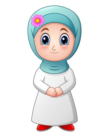 Happy muslim girl cartoon isolated on white background