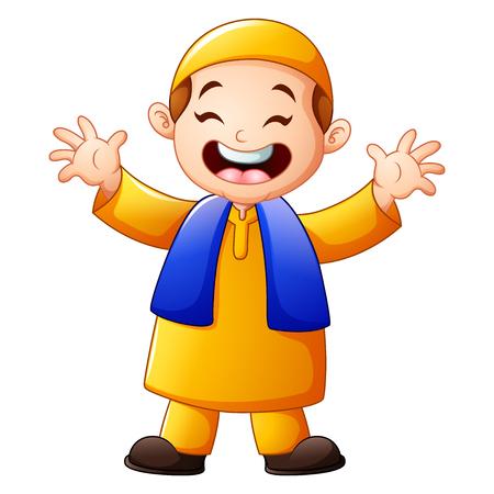 Happy Muslim Kid Cartoon Waving Hand Isolated On White Background