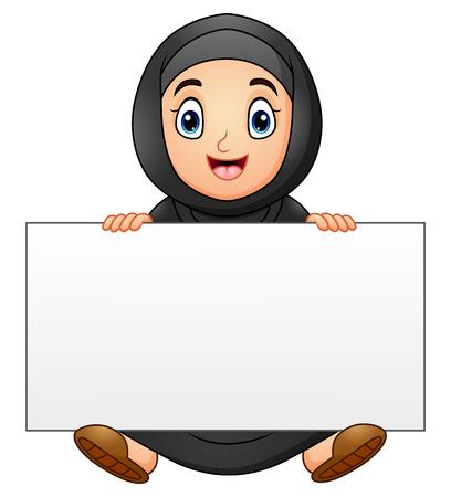 familia orando: Feliz musulmanes niña de dibujos animados con signo en blanco