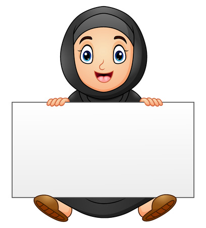 Happy muslim girl cartoon holding blank sign Illustration