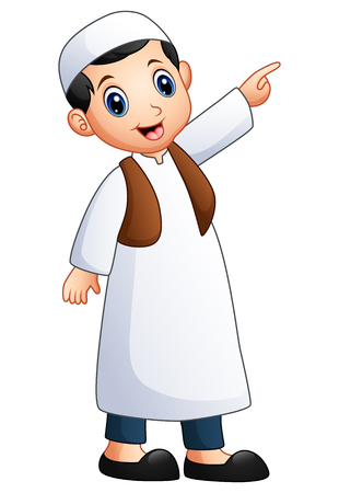 religious clothing: Happy muslim kid showing Stock Photo