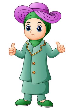 young asian girl: Muslim girl cartoon giving thumb up Stock Photo