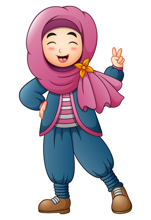 Happy muslim girl giving two finger