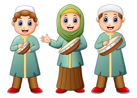 Vector illustration of Happy Muslim kid cartoon playing tambourine Illustration