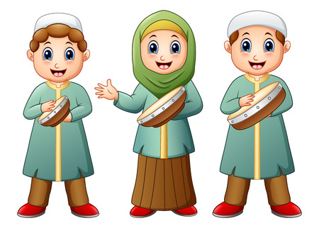 Vector illustration of Happy Muslim kid cartoon playing tambourine Illustration