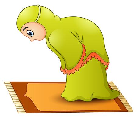 Vector illustration of Muslim girl cartoon praying