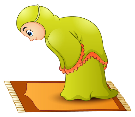 Vector illustration of Muslim girl cartoon praying