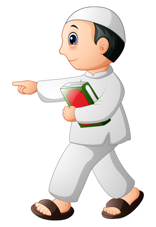 Vector illustration of Happy muslim kid showing with holding quran