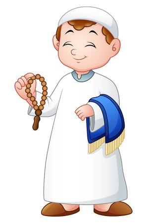 Vector illustration of Muslim kid holding praye beads and prayer rug