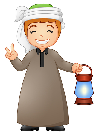 Vector  illustration of Muslim kid giving two finger with holding lantern