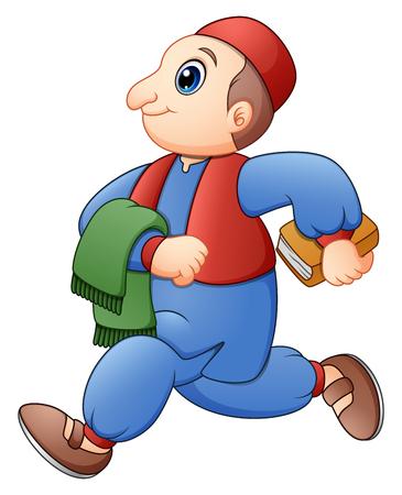 Vector illustration of Happy Muslim kid cartoon walking