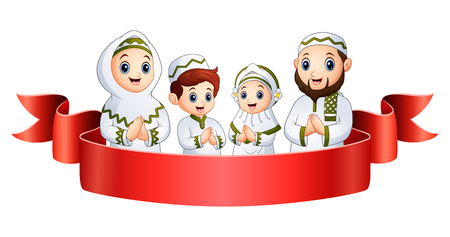 Vector illustration of Muslim family greeting with red ribbon