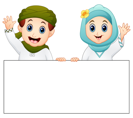 Vector illustration of Happy Muslim kid holding blank sign and waving hand