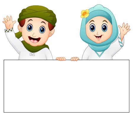 Vectorillustratie van gelukkig moslim kind bedrijf leeg teken en zwaaiende hand