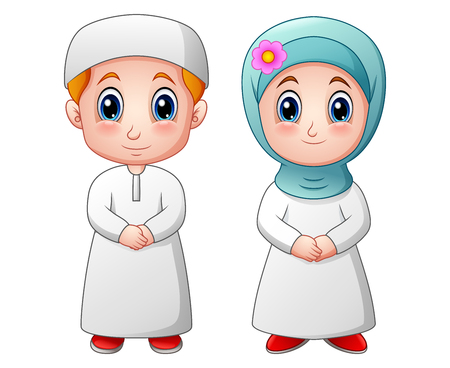 youngster: Vector illustration of Happy muslim kid cartoon isolated on white background