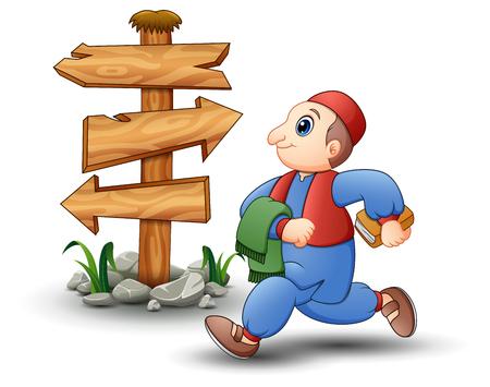 Vector illustration of Happy kid cartoon walking with blank wood arrow sign Ilustração