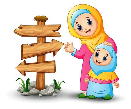 イスラム教徒の女性のベクトル イラスト空木製矢印記号と彼女の娘の頭を保持します。