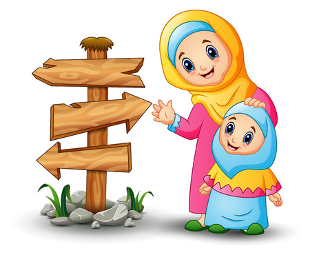 Vector illustration of A muslim women hold her daughter head with blank wood arrow sign