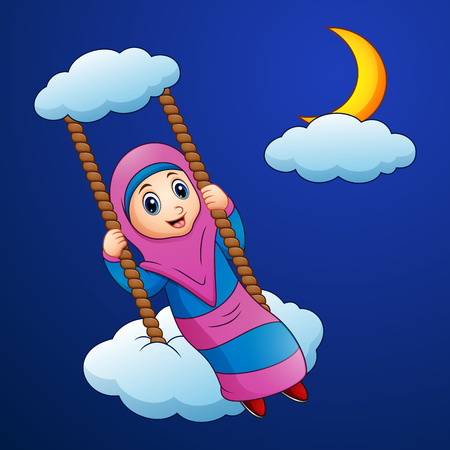 Vector illustration of Muslim girl cartoon swing at the cloud in the night