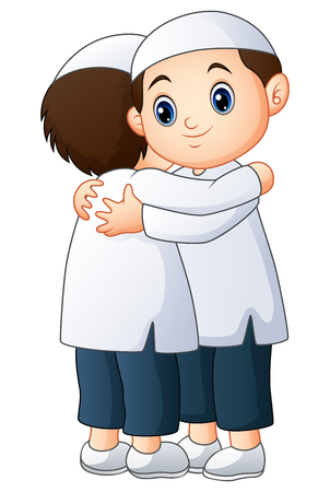 Vector illustration of Muslim kid couple embrace for each other