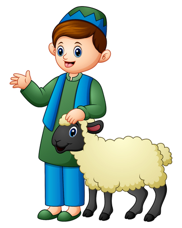 Vector illustration of Happy Muslim kid holding sheep Illustration